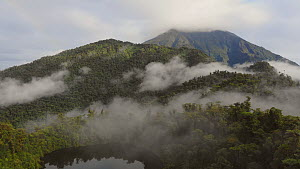 Aerial timelapse rising over misty cloudforest covering the slopes of Sumaco Volcano, with a water filled crater lake in foreground, Napo Province, Ecuador, 2018. (non-ex)  -  Morley Read