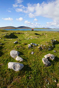 Remains of village buried by a sandstorm in 17th century on the Borve, North Uist, Outer Hebrides, Scotland, UK, June 2015.  -  David  Woodfall