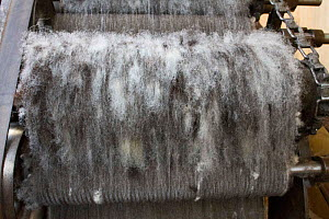 Wool carding machine, North Uist, Scotland, UK, July.  -  David  Woodfall