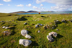 Remains of village buried by sandstorm in 17th century on the Borve. North Uist, Scotland, UK, June.  -  David  Woodfall