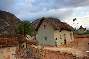 Village in Anja Community Reserve with granite mountain in background. Madagascar. 2018.  -  Cyril Ruoso