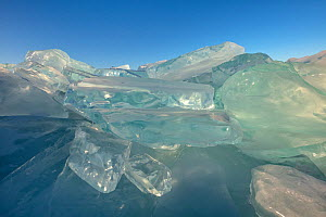 Ice formations with clear ice. Lake Baikal, Siberia, Russia. February.  -  Ingo Arndt