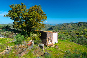 Star Camp holiday accommodation overlooking valley. Faia Brava Reserve, Archaeological Park of the Coa Valley, Western Iberia, Portugal. April 2016.  -  Juan  Carlos Munoz