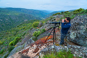 Man wildlife watching in Faia Brava Reserve. Archaeological Park of the Coa Valley, Western Iberia, Portugal. April 2016. - Juan  Carlos Munoz