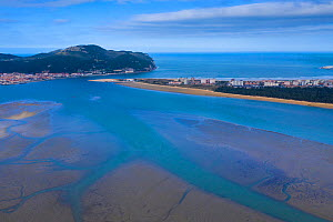 Santona, Victoria and Joyel Marshes Natural Park. Aerial view of estuary out to the Cantabrian Sea. Cantabria, Spain. March 2019.  -  Juan  Carlos Munoz