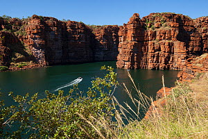Zodiac boat with tourists approaching site of waterfalls of King George River, during dry season. Koolama Bay, The Kimberley, Western Australia. July 2015.  -  Rick Price