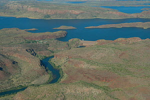 Aerial view of reservoir, dam and the Ord River. Lake Argyle, The Kimberley, Western Australia. 2015. - Rick Price