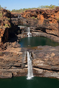 Mitchell Falls in dry season with little flow. The Kimberley, Western Australia. 2015.  -  Rick Price