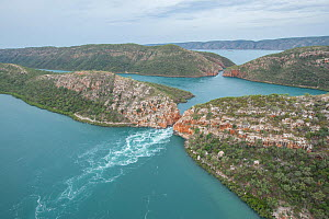 Tidal water movement at Inner falls, aerial view. Talbot Bay, The Kimberley, Western Australia. 2016.  -  Rick Price