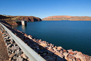 Lake Argyle reservoir, part of Ord River irrigation scheme. Hydro electric power generation at dam. The Kimberley, Western Australia, 2015. - Rick Price