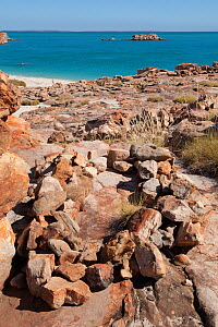 Coastal rock grave site of the Wunambal Gaambera / Uunguu people. Wary Bay, Bigge Island, Bonaparte Archipelago, The Kimberley, Western Australia.  -  Rick Price