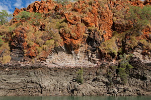 Banded and folded rock on cliff beside Cyclone Creek. Talbot Bay, The Kimberley, Western Australia.  -  Rick Price