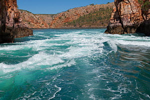 Fast tidal water flow through Horizontal Waterfalls. The Narrows, Talbot Bay, The Kimberley, Western Australia. July 2015.  -  Rick Price