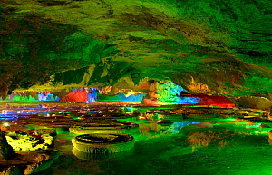 Green Lotus Cave, 108 basins resembling Lotus leaves are present. Bai Shan Di Village, Xingping, Guangxi Province, China. 2007. - Heather Angel