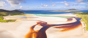 Aerial view of Luskentyre Beach on the Isle of Harris, Scotland, UK, August 2018.  -  SCOTLAND: The Big Picture