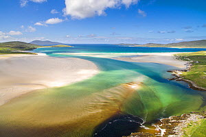 Aerial image of Luskentyre Beach on the Isle of Harris, Scotland, UK, August.  -  SCOTLAND: The Big Picture