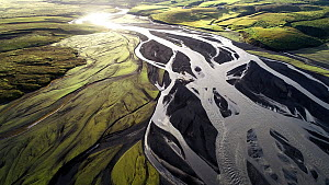 Aerial shot of the estuary of the Holmsa and Kudafljot glacial rivers, Grafarkirkja, Iceland, August 2018. - Milan Radisics
