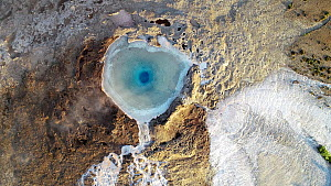 Aerial view of a geyser in Haukadalur valley, Geyser Geothermal Area, Iceland, August 2018. - Milan Radisics