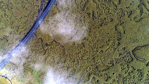 Aerial shot of cars on Route 1, passing through a lava flow landscape from the Laki eruption in June 1783, Skaftareldar, Iceland, August 2018. - Milan Radisics