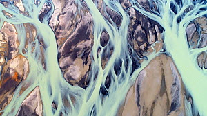 Aerial shot of Thjorsa glacial river, southern Iceland, August 2018.  -  Milan Radisics