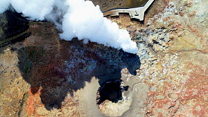Aerial shot of steam geysers at Gunnhuver Hot Springs, Reykjanes Peninsula, Iceland, August 2018. - Milan Radisics