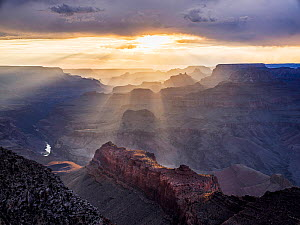 Sun rays over The Grand Canyon, Arizona, USA. 2019.  -  Jack Dykinga