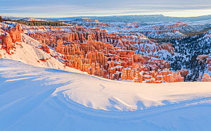 Inspiration point covered in snow, Bryce Canyon National Park, USA, January. - Jack Dykinga