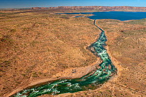 Spillway diverting water during high flow event. Lake Argyle reservoir, dammed in 1971 for Ord River Irrigation Scheme. The Kimberley, Western Australia. 2017. - Steven David Miller