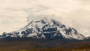 Sincholagua Volcano (4,899m) after a heavy snowfall, the summit now only occasionally has snow, and its glaciers have melted due to climate change, Cotopaxi National Park, Ecuador, 2018.  -  Morley Read