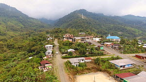 Aerial view of a village on the Amazonian slopes of the Andes, Morona Santiago Province, Ecuador, 2018.  -  Morley Read
