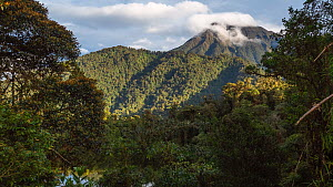 Timelapse of Sumaco Volcano, with montane rainforest and Laguna Wawa Sumaco crater lake in foreground, Orellana Province, Ecuador, 2018. - Morley Read