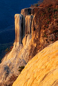 Hierve el Agua rock formation with calcified minerals, resembling a waterfall. Oaxaca, southern Mexico. - Claudio  Contreras