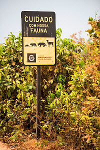 Road sign on the Transpantaneira route warning drivers to watch out for wildlife. Mato Grosso , Brazil. 2017. - Gabriel Rojo