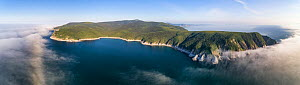 Aerial view of Wrangel Bay, Russia, one of the locations where bowhead whales (Balaena mysticetus) of the endangered Sea of Okhotsk subpopulation visit during the summer. The shallow waters of the bay...  -  Tony Wu