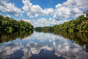Luilaka River with clouds reflected in the surface of the water,   Salonga National Park is on the left bank. Democratic Republic of the Congo.  -  Karine Aigner