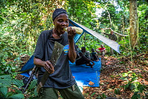 Portrait of female ecoguard / ranger Salonga National Park, Salonga National Park, Democratic Republic of Congo. May 2017. There are 16 women who work as Ecoguards in Salonga National Park  -  Karine Aigner