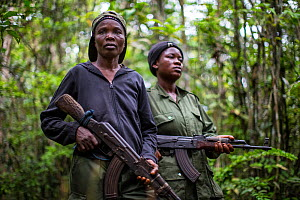 Portrait of two female ecoguards/ rangers, Salonga National Park, Democratic Republic of Congo. May 2017. There are 16 women who work as Ecoguards in Salonga National Park  -  Karine Aigner
