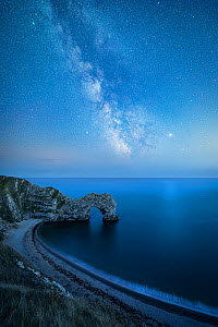 Milky Way above Durdle Door rock arch. Jurasic Coast, Dorset, England, UK. August 2019. Composite image. - Guy Edwardes