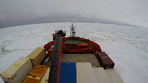 Timelapse of an icebreaker moving through swell in pack ice, Antarctica, 2018.  -  Fred  Olivier