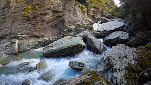River in Rob Roy Valley, Mount Aspiring National Park, New Zealand, 2017.  -  Fred  Olivier