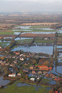 Aerial view of flooded areas, Fishlake, South Yorkshire, UK. November 2019. - David  Woodfall