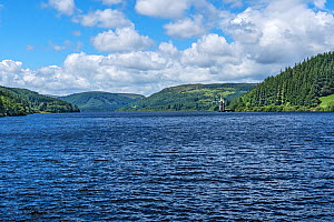 Lake Vyrnwy reservoir, view to north west with straining tower and wooded hills. Llanwddyn, Montgomeryshire, Powys, Wales, UK. June 2019. - Alan  Williams
