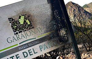 Charred Garajonay National Park sign with dead trees in background, caused by forest fire. La Gomera, Tenerife, Canary Islands, 2012.  -  Sergio Hanquet
