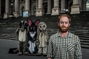 ?Campaign coordinator for GECO (Goongerah Environment Centre Office) Ed Hill and three protesters in costumes protesting against logging in East Gippsland on the steps of the Victorian Parliament??. ?...  -  Doug Gimesy