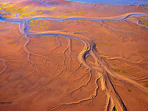 Patterns in the tidal  flats of the Colorado River Delta where the delta is swept by tidal encroachment from the Gulf of California. Colorado River Delta, Baja California, Mexico.   September 2019.  A...  -  Jack Dykinga