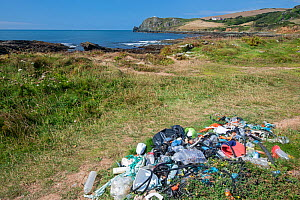 Plastic and other rubbish collected from beach clean-up. Prawle, South Devon, UK. July.  -  Adrian Davies