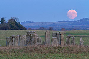 Supermoon rising over Stonehenge Wiltshire, the biggest Supermoon in 68 years and the closest since 1948. 13th November 2016.  -  Peter Lewis