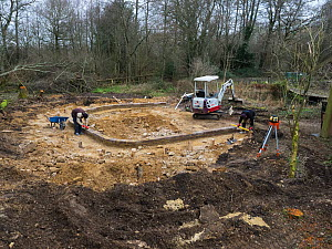 Preparatory work for construction of educational dipping pond, Blashford Lakes Nature Reserve. Hampshire and Isle of Wight Wildlife Trust Reserve, Ellingham, near Ringwood, Hampshire, England, UK, Feb...  -  Mike Read