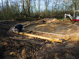 Preparatory work for construction of educational dipping pond, Blashford Lakes Nature Reserve. Hampshire and Isle of Wight Wildlife Trust Reserve, Ellingham near Ringwood, Hampshire, England, UK, Febr...  -  Mike Read