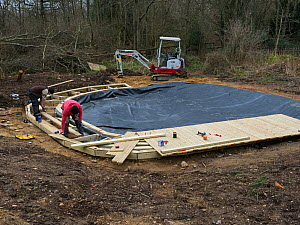 Preparatory work for construction of educational dipping pond with the liner in place, Blashford Lakes Nature Reserve. Hampshire and Isle of Wight Wildlife Trust Reserve, Ellingham near Ringwood, Hamp...  -  Mike Read